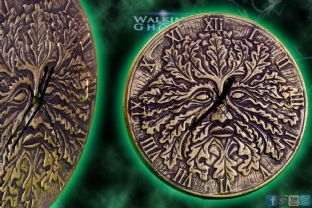 Green Man Ceramic Wall Clock Bronze Wicca Pagan
